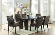 Kitchen Dining Room Dark Brown Wooden Dining Table W Glass Insert Tufted Chairs