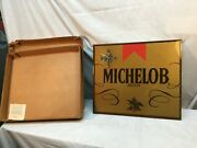 Vintage Mid Century Michelob Beer Battery Wall Clock On Wood Plaque Bar Sign