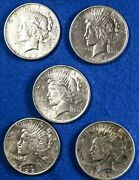 Lot Of 5 Cull Peace Silver Dollars 5 Coins Mixed Dates