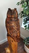 54 X-large Wood Owl Statue Hand Carved Sculpture Folk Art By Local Artist