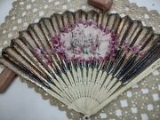 Antique 18thc Brise Hand Carved Hand Painted Fan Gilded With Clarke Box