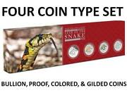2013 Year Of The Snake 4 Coin Silver Type Set Perth Lunar Series Ii -got Monkey