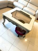 🐯traditional Victorian Old World Wood Glass Top Coffee Table