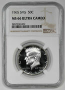 1965 Sms Kennedy Half Dollar 50c Ngc Ms 66 Mint State Unc - Ultra Cameo 002