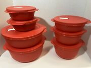 Tupperware Crystalwave Set Of 7 Round Microwave Containers Vented
