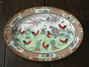 Vintage Chinese Rooster Large Oval Platter Hand-painted Famille Verte 16 X 12
