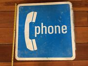 Atandt-large 24 In X 24 In Heavy 8 Lbs Pay Phone Sign/flange- Salvaged From Fire