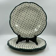 Pioneer Woman Green Retro Dots Dinner Plates 10.5 Inch Cottagecore Lot Of 3