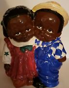 Jay Imports Vintage African American Americana Girl And Boy Cookie Jar