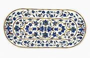 24 X 60 Inches Marble Coffee Table Top Lapis Lazuli Gemstone Inlaid Center Table