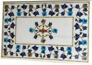 36 X 48 Inches Marble Dining Table Top Inlay Semi Precious Gemstone Coffee Table