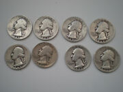 1941, 1942,1943,1944,1945,1946,1947 And 1948 Washington Quarters- Lot Of 8 Coins