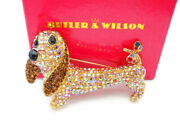 Butler And Wilson Dachshund Sausage Dog Gold Tone Multi Color Crystal Pin Brooch