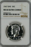 1967 Sms Kennedy Half Dollar 50c Ngc Ms 66 Mint State Unc - Ultra Cameo 016