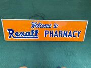 Vintage Advertising Rexall Pharmacy Orange Electric Fluorescent Light Up Sign