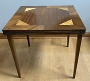 Vintage Mid Century Inlaid Wood Folding Legs Game Card Table Antique