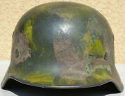 Germany Ww 2 Original Camouflage Army Helmet Named On The Leather Liner