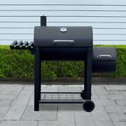 Aleko Bbqsg03-unb Portable Charcoal Bbq Offset Smoker Grill With Side Fire Box And