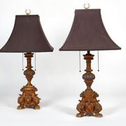 A Pair Of Italian Baroque Style Parcel Painted Carved Giltwood Table Lamps