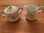 Vintage Lefton China Sugar Bowl With Lid And Creamer To A Wild Rose Ne 2563