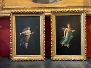 Pair Of 19th Century Italian Neoclassical Oil On Board After Camillie Paderni