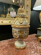 French Hand Carved Solid Wood Urn With Rich Carving, Gilt Paint And Antique Finish