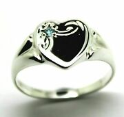 Large Sterling Silver 925 Heart Signet Ring Choose Your Size And Gemstone P To T