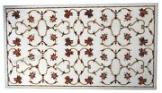 30 X 60 Inch Marble Coffee Table Top Inlay Floral Design Royal Look Island Table