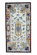 30 X 60 Inches Marble Wall Panel Inlay Floral Design Patio Table For Lawn Decor
