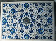 12 X 18 Inches Marble Coffee Table Top Inlay Lapis Lazuli Gemstones Corner Table