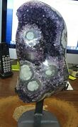 Lg. Amethyst Crystal Cluster Geode Uruguay Cathedral Stalactite Bases Stand
