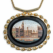 Vintage 750 Gold Necklace With Antique Micro Mosaic, St Mark's Square In Venice,