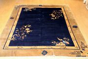 On Sale Antique 8and039 X 9and039 Art Deco Chinese Peking Navy Garden Design Pictorial