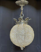 Antique Vintage French Art Deco Crystal Beaded Sphere Chandelier Ceiling Light