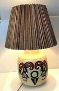 Native American Pottery Lamp And Rough Wood Shade Acoma Pueblo Parrot C.1970's