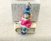 Nordstrom Girl On Sled Blown Glass Christmas Tree Ornament Made In Poland