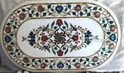 18 X 36 Inches Marble Coffee Table Top Marquetry Art Patio Table For Lawn Decor