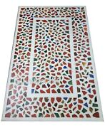30 X 60 Inch Marble Coffee Table Top Inlay Geometric Design Patio Table For Lawn