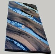 Clear Resin River Epoxy Live Edge Design Semifinished Office Meeting Table Decor