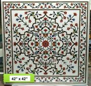 42 Inches Marble Dining Table Top Floral Pattern Inlaid Royal Look Hallway Table