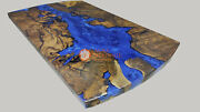 Blue Resin Epoxy Dine Center Table Top Handmade Collectible Royal Furniture Deco