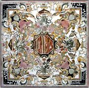 42 Inches Marble Dining Table Top Antique Design Inlaid Meeting Table For Office