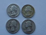 1942-s, 1943-s, 1945-s And 1947-d Lot Of 4 Silver Washington Quarters