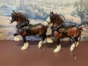 Model Horse Farm Harness Team By Tiki Made To Fit Peter Stone Trotting Draft