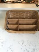 2005 Longaberger Handmade Desktop Basket And Protector And Wooden Dividers 9.5tall