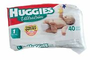 Vintage Huggies Ultratrim Baby Diapers Nappy 40 Pcs Size 1 Sealed Bag Retro 2000