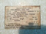 Rare Ww2 Military Id Card Canal Zone Fort Sherman 1942 Photo Sgt Russell Dyhr Ha