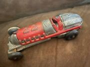 Vintage 1930andrsquos Hubley Racer Open Cockpit 22 Red And Silver 2330 Toy Car Made Usa