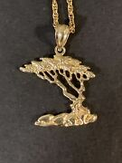 14k Gold Chain And 14k Gold Monterey Cypress Tree Pendant 4.5 Grams 18 Inches