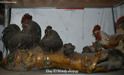 28 Huge Wucai Porcelain Chicken Cock Rooster Chick Hen Fowl Tree Trunk Statue